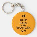 Guarde la calma y Bhangra en personalizable del Llaveros