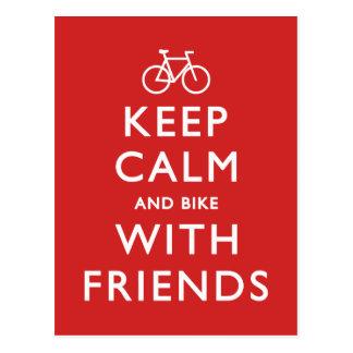 Guarde la calma y Bike con los amigos Tarjeta Postal