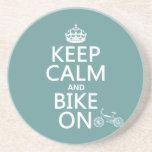 Guarde la calma y Bike en (cualquier color) Posavasos Personalizados