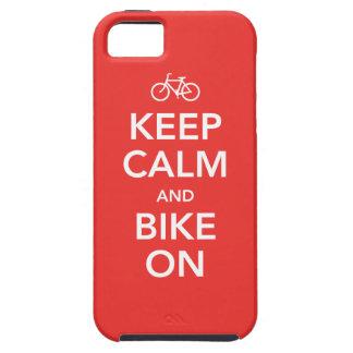 Guarde la calma y Bike encendido, rojo/blanco iPhone 5 Carcasas