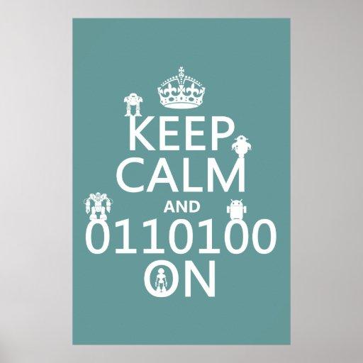 Guarde la calma y (binario) en (robots) (cualquier póster