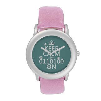 Guarde la calma y (binario) en (robots) (cualquier relojes de pulsera