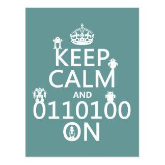 Guarde la calma y (binario) en (robots) (cualquier tarjeta postal