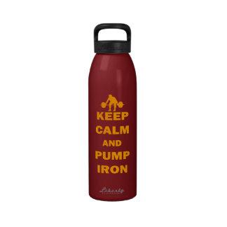 Guarde la calma y bombee el hierro botella de agua reutilizable
