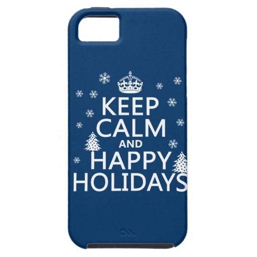 Guarde la calma y buenas fiestas funda para iPhone 5 tough