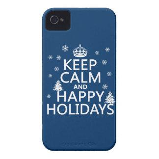 Guarde la calma y buenas fiestas funda para iPhone 4 de Case-Mate