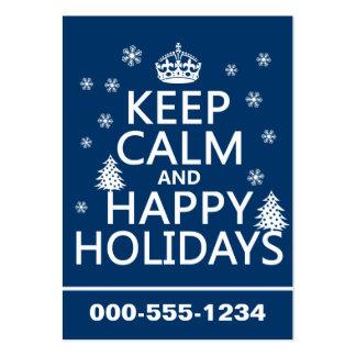 Guarde la calma y buenas fiestas plantilla de tarjeta de visita