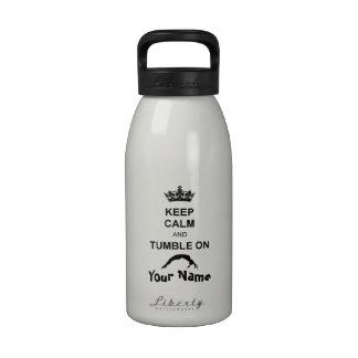 Guarde la calma y caiga botella de agua de 16 onza