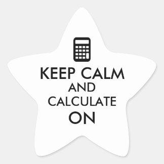 Guarde la calma y calcule en personalizado de la calcomanías forma de estrella