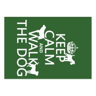 Guarde la calma y camine el perro - todos los tarjetas de visita grandes
