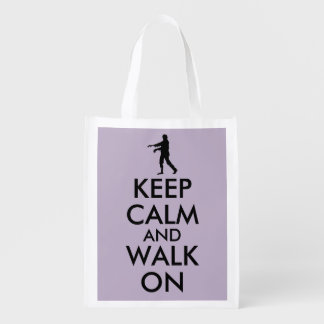 Guarde la calma y camine en plantilla reutilizable bolsas de la compra