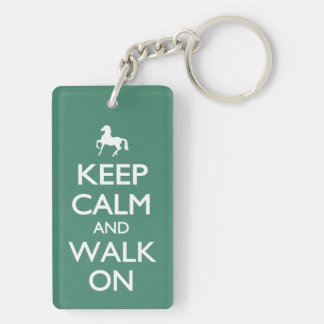 Guarde la calma y camine encendido llavero rectangular acrílico a doble cara