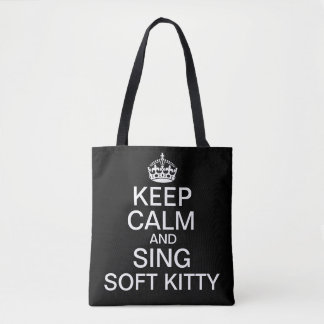 Guarde la calma y cante el gatito suave bolsa de tela
