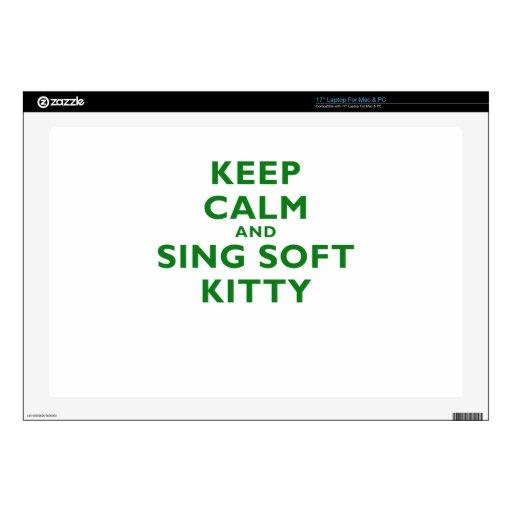Guarde la calma y cante el gatito suave portátil skins