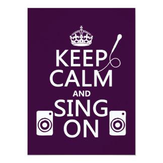 """Guarde la calma y cante en (el Karaoke) Invitación 5.5"""" X 7.5"""""""