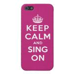Guarde la calma y cante encendido iPhone 5 protector