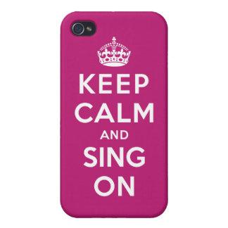Guarde la calma y cante encendido iPhone 4/4S carcasas