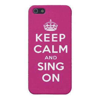 Guarde la calma y cante encendido iPhone 5 fundas