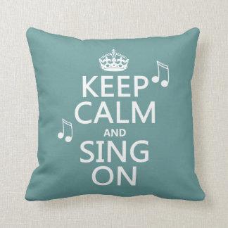Guarde la calma y cante encendido - todos los cojín decorativo
