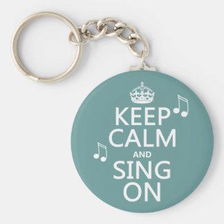 Guarde la calma y cante encendido - todos los colo llavero personalizado