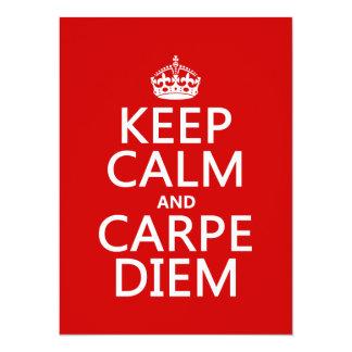 """Guarde la calma y Carpe Diem Invitación 5.5"""" X 7.5"""""""