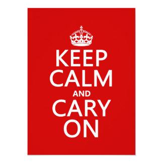 """Guarde la calma y Cary en (cualquier color de Invitación 5.5"""" X 7.5"""""""