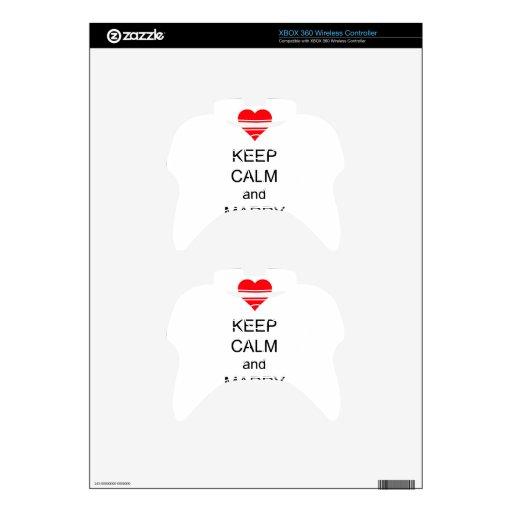 Guarde la calma y cásese en corazón rojo mando xbox 360 skin
