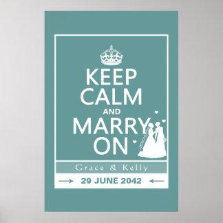 Guarde la calma y cásese en el boda lesbiano posters