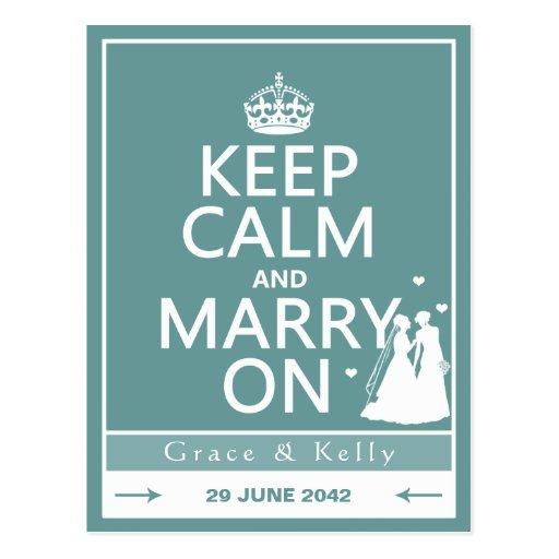 Guarde la calma y cásese en el boda lesbiano tarjetas postales