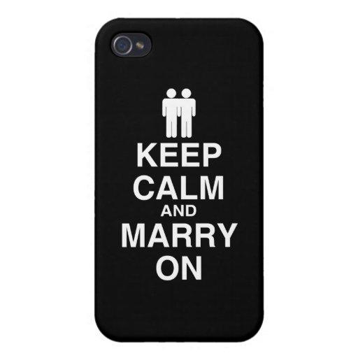 Guarde la calma y cásese en gay iPhone 4 cárcasa