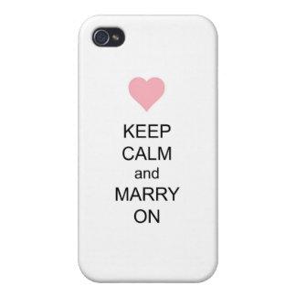 Guarde la calma y cásese encendido iPhone 4 carcasa