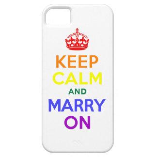 Guarde la calma y cásese encendido iPhone 5 carcasas