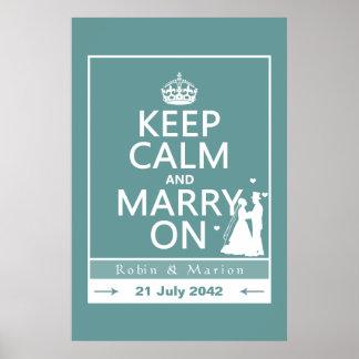 Guarde la calma y cásese encendido - novia y novio posters