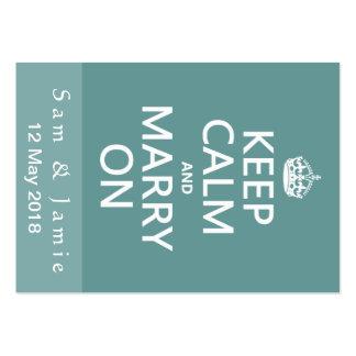 Guarde la calma y cásese encendido tarjetas de visita grandes