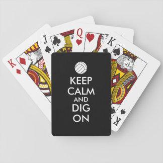 Guarde la calma y cave en amantes de los deportes baraja de póquer