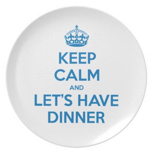 Guarde la calma y cenemos plato para fiesta