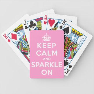 Guarde la calma y chispee encendido baraja de cartas