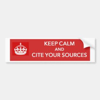 Guarde la calma y cite a su pegatina para el parac etiqueta de parachoque