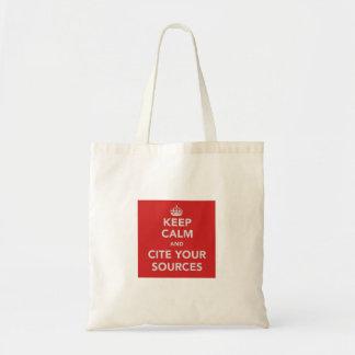 Guarde la calma y cite su tote de las fuentes bolsas de mano