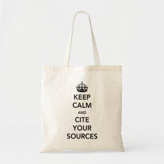 Guarde la calma y cite sus fuentes bolsa tela barata