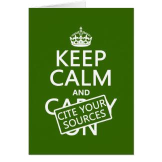 Guarde la calma y cite sus fuentes (en cualquier c tarjeta de felicitación