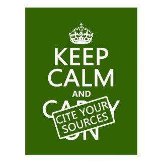 Guarde la calma y cite sus fuentes (en cualquier c postales