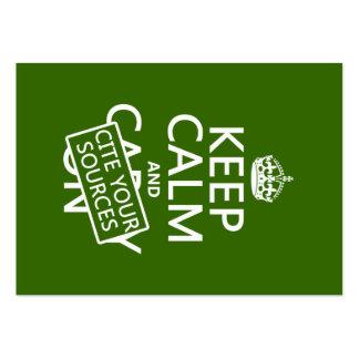 Guarde la calma y cite sus fuentes (en cualquier c tarjetas de visita grandes