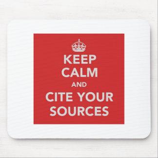 Guarde la calma y cite sus fuentes Mousepad Alfombrillas De Ratones