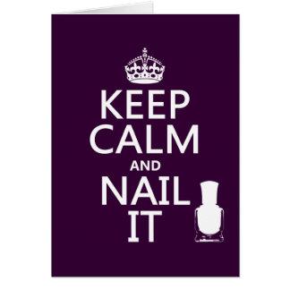 Guarde la calma y clávela (el esmalte de uñas) tarjeta