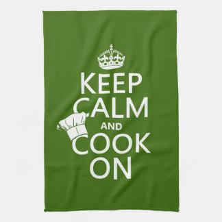 Guarde la calma y cocine en (los colores adaptable toallas de cocina