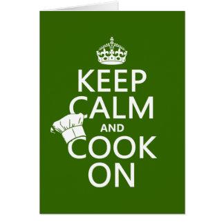 Guarde la calma y cocine en (los colores adaptable tarjeta de felicitación