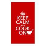 Guarde la calma y cocine en (los colores del perso plantillas de tarjetas personales