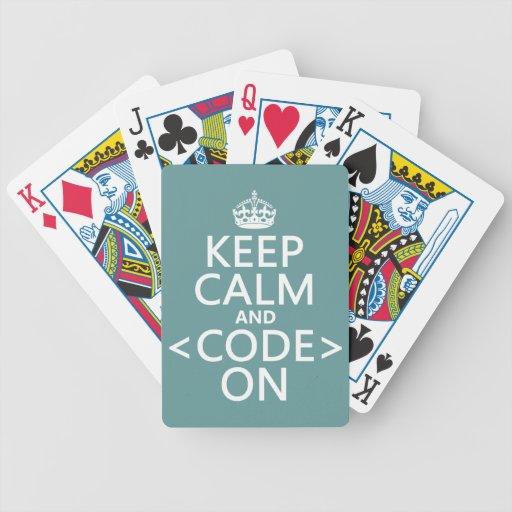 Guarde la calma y <Code> En - todos los colores Barajas