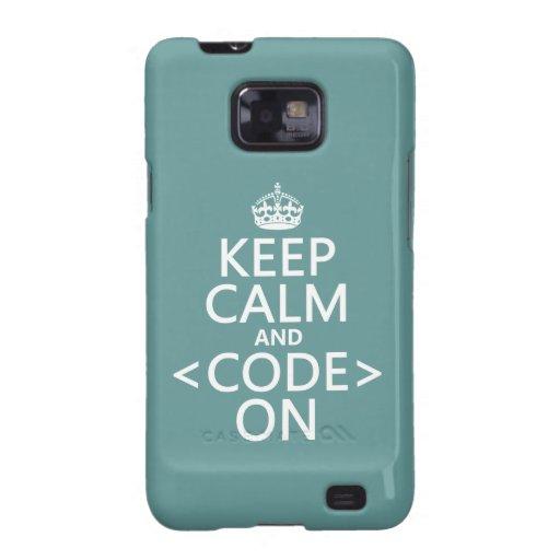 Guarde la calma y <Code> En - todos los colores Samsung Galaxy S2 Carcasa